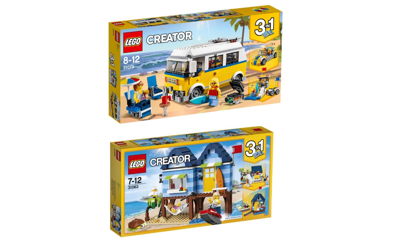 WIN Lego Beach Surfer Van and Beach Vacation 3 in 1 Creator Build Sets