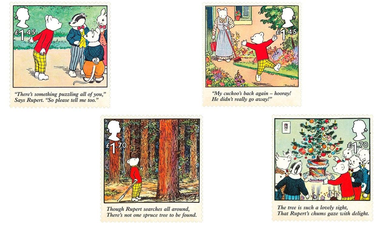 LATEST NEWS Rupert Bear Stamps two