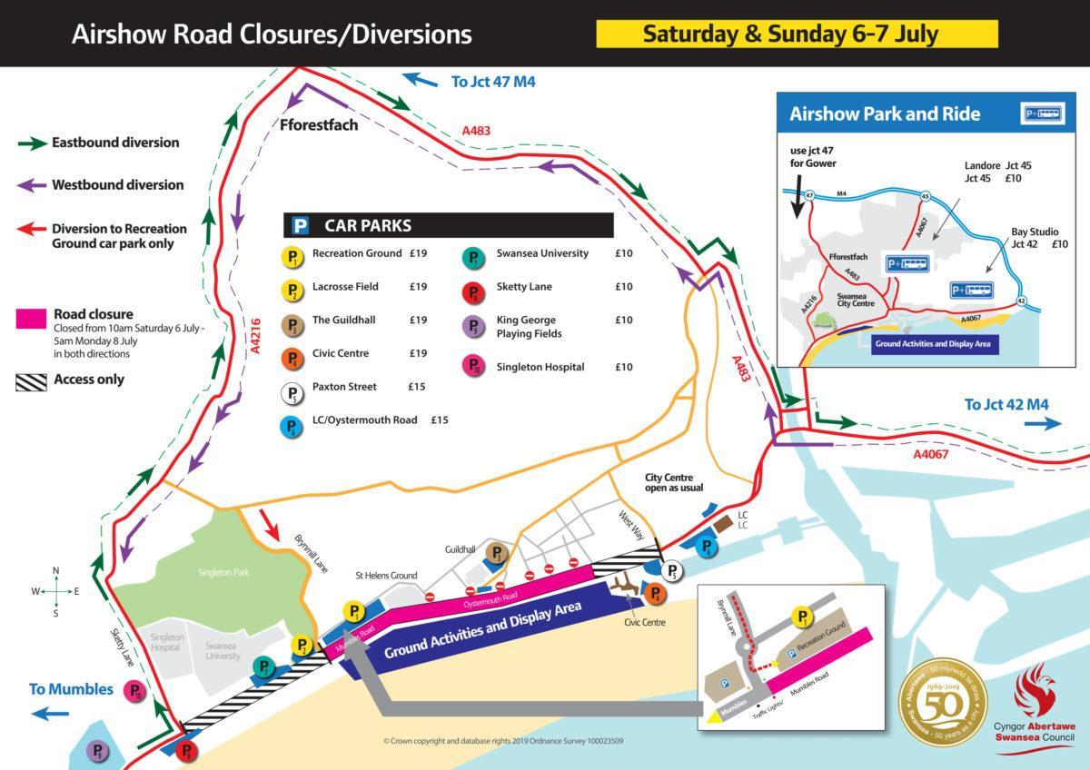 2019 Airshow Road Closures 6 7 July