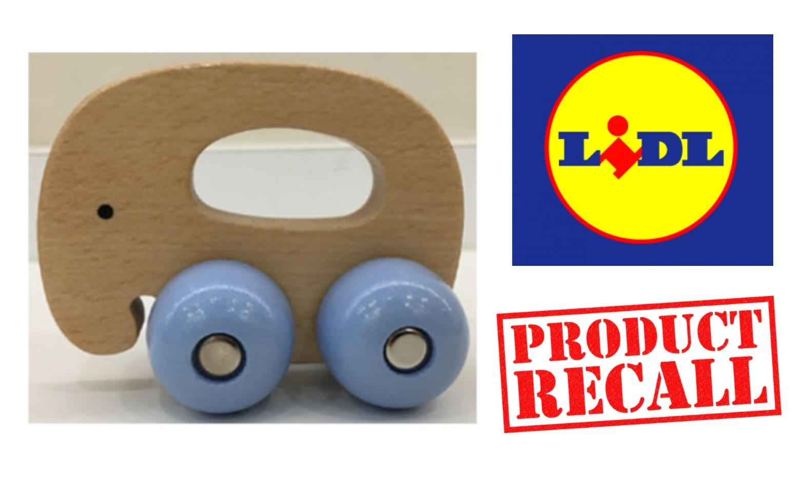 LIDL Recall Playtive Junior Wooden Elephant Gripper Toy