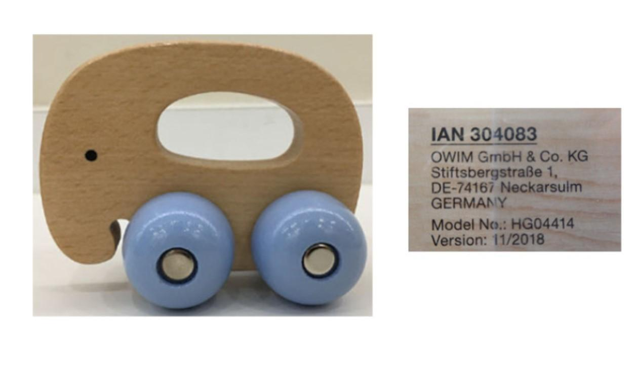LIDL RECALL Playtive Junior Wooden Elephant Gripper Toy BATCH NUMBER
