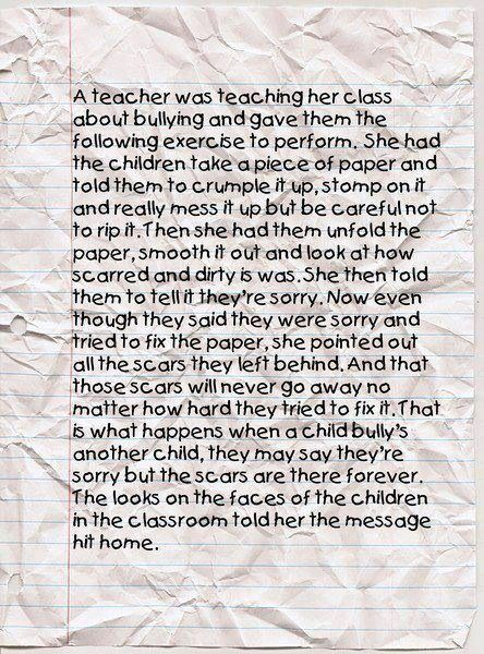 The Paper Story Bullying