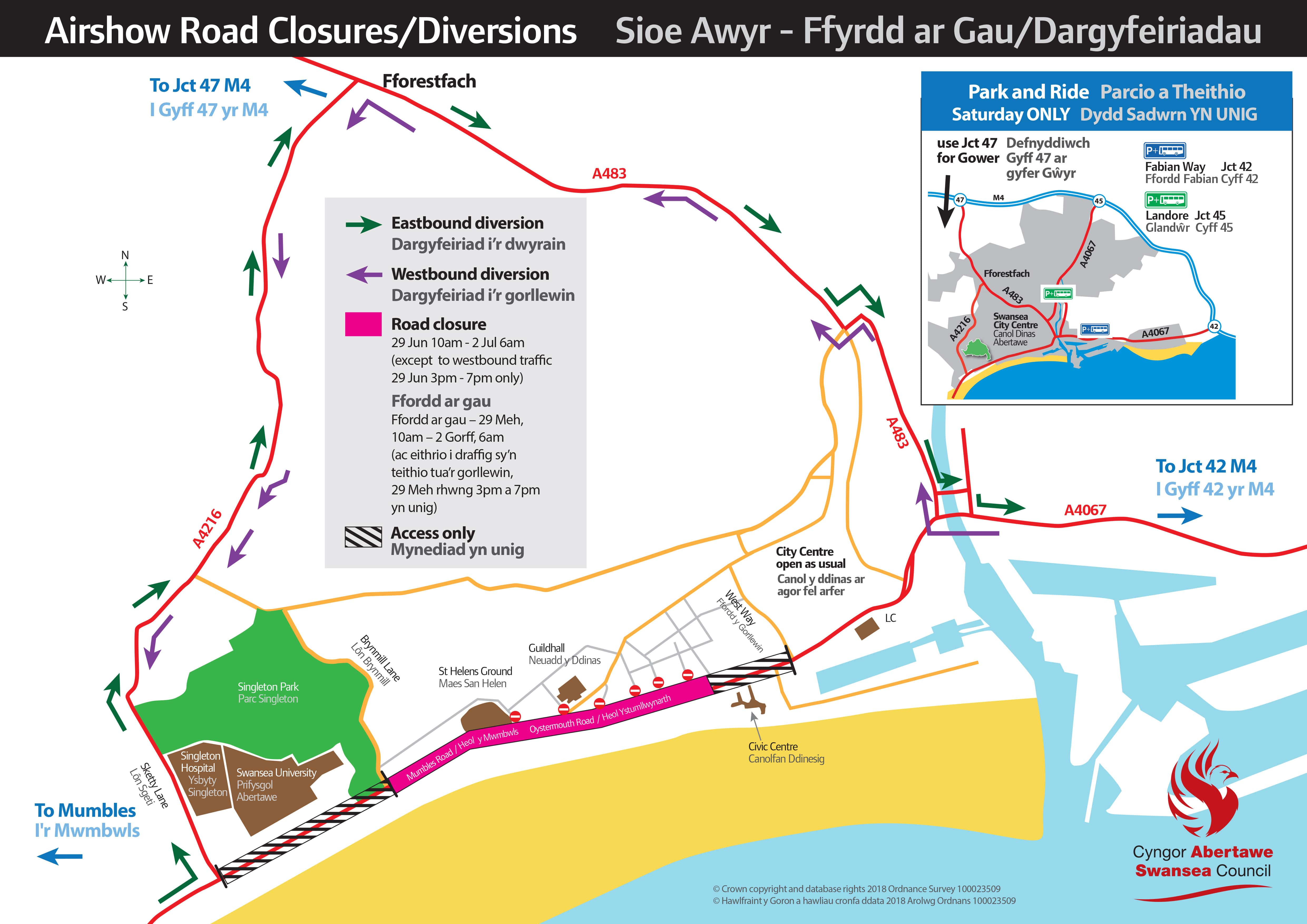 Swansea Airshow Road closures 2018 Final min