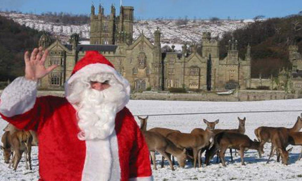 Santa Feeds the Deer at Margam Park