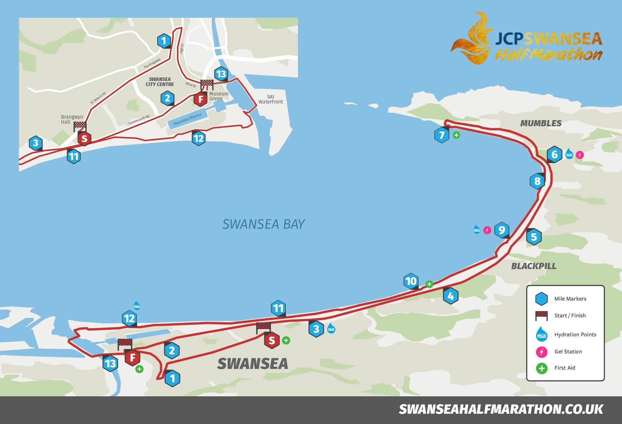 WHATS ON IN SWANSEA Swansea Half Marathon 2018 Route Map